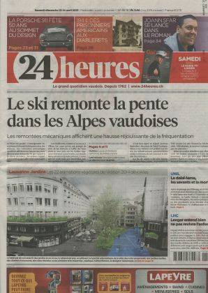 "Article newspaper ""24 Heures"" 1625"