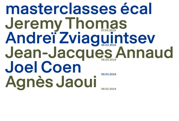 Rencontres 7e Art Lausanne, Masterclasses ECAL: Jeremy Thomas, Andreï Zviaguintsev, Jean-Jacques Annaud, Joel Coen, Agnès Jaoui